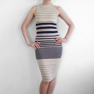 Black Bead Striped Bodycon Sleeveless Midi Dress